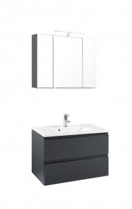 Held Möbel Waschtisch Set Cardiff 80 cm 2-teilig in hochglanz grau inkl. Mineralgussbecken in weiß 385.1.3103