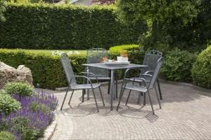 greemotion Testrut Gartentischgruppe Toulouse 5tlg. in quadratisch groß und eisengrau