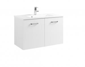 Held Möbel Waschtisch Bologna in hochglanz weiß 80 cm mit Türen inkl. Mineralgussbecken in weiß