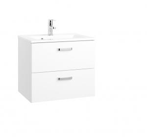 Held Möbel Waschtisch Bologna in hochglanz weiß 60 cm mit Vollauszügen inkl. Mineralgussbecken in weiß