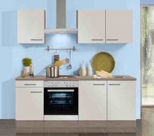 Optifit Jaka Küchenblock mit Geschirrspüler und Glaskeramikkochfeld Arta 210 cm in Sahara beige glänzend KX213E-9