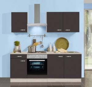 Optifit Küchenblock mit Geschirrspüler und Glaskeramikkochfeld Faro 210 cm in Anthrazit