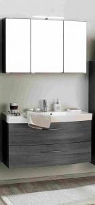Held Möbel Waschtisch Set Florida 100 cm 2-teilig mit Vollauszügen in Eiche Rauchsilber Nachbildung inkl. Mineralgussbecken in weiß 062.1.3100