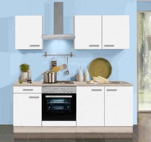 Küchenblock Genf 210 cm in weiss matt mit Spüle ohne Elektrogeräte