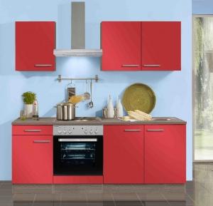 Optifit Küchenblock mit Geschirrspüler und Glaskeramikkochfeld Imola 210 cm in signalrot glänzend