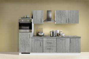 Menke Küchenblock mit Backofen und Geschirrspüler Premium 280 cm in Beton Optik 1520-102-03-280-076