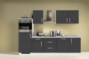 Menke Küchenblock mit Backofen und Geschirrspüler Premium 280 cm in Schiefer Nachbildung grau 1522-102-03-280-076