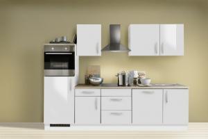 Menke Küchenblock mit Backofen und Geschirrspüler Premium 280 cm in Lack weiß hochglanz 1521/102-03-280-076