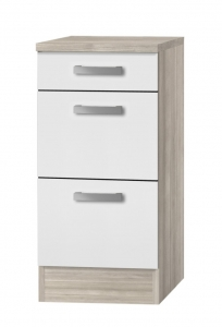 Küchen Schubladenunterschrank mit Arbeitsplatte Genf U436-9 in weiß