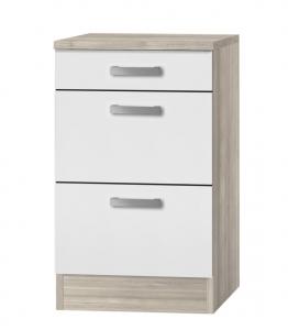 Küchen Schubladenunterschrank mit Arbeitsplatte Genf U536-9 in weiß