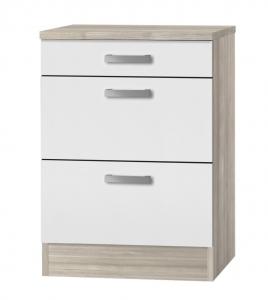 Küchen Schubladenunterschrank mit Arbeitsplatte Genf U636-9 in weiß
