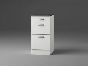 Optifit Jaka Schubladenunterschrank mit Arbeitsplatte Lagos U436-9 in weiß