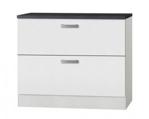 Küchen Schubladenunterschrank mit Arbeitsplatte Oslo U126-9 in weiß