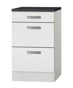 Küchen Schubladenunterschrank mit Arbeitsplatte Oslo U536-9 in weiß