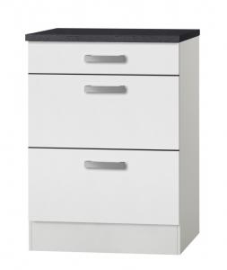 Küchen Schubladenunterschrank mit Arbeitsplatte Oslo U636-9 in weiß
