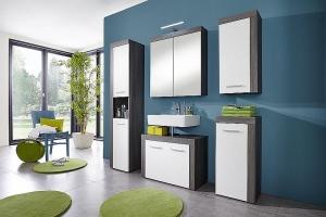 Trendteam Badmöbel Kombination 5-teilig mit Spiegelschrank Miami 125990703 in weiß