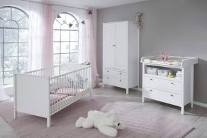 Trendteam Babyzimmer Ole komplett 3-teilig in weiß mit Kleiderschrank 91 cm 183960101