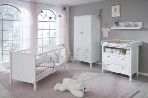 Trendteam Babyzimmer Ole komplett 4-teilig in weiß mit Kleiderschrank 91 cm 183960201