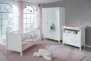 Trendteam Babyzimmer Ole komplett 3-teilig in weiß mit Kleiderschrank 141 cm 183960301