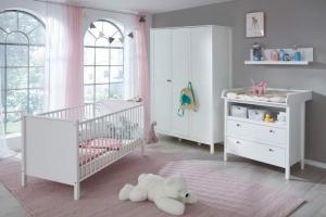 Trendteam Babyzimmer Ole komplett 4-teilig in weiß mit Kleiderschrank 141 cm 183960401