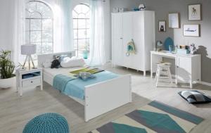 Trendteam Jugendzimmer Ole komplett 4-teilig in weiß mit Kleiderschrank 141 cm 183960801