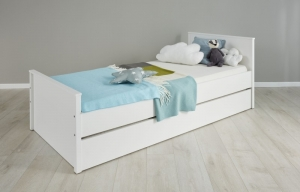 Trendteam Jugend Bett Ole in weiß mit Bettkasten Auszug auf Rollen 183962201