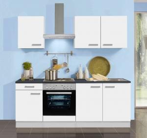 Optifit Küchenblock mit Geschirrspüler und Glaskeramikkochfeld Genf 210 cm in weiss