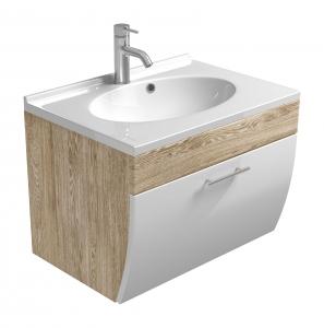 Posseik Bad Waschplatz Salona 5600 24 mit Mineralgussbecken und Klappe in weiß hochglanz-Eiche hell Nachbildung