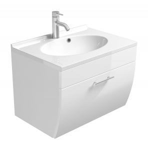 Posseik Waschplatz Salona 5600 76 mit Mineralgussbecken und Klappe in weiß hochglanz