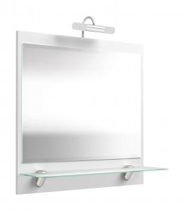 Posseik Spiegel Salona 5602 76 mit LED Beleuchtung und Milchglas Ablage in weiß hochglanz