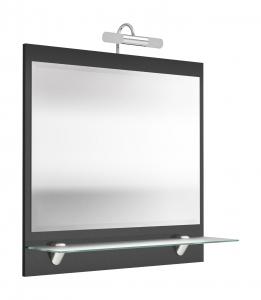 Posseik Spiegel Salona 5602 84 mit LED Beleuchtung und Milchglas Ablage in anthrazit hochglanz