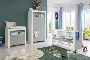 Trendteam Babyzimmer Pia komplett 3-teilig in Lichtgrau 187460703