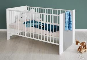 Trendteam Baby Kinder Bett Pia in weiß mit Absetzung in Lichtgrau 187462103