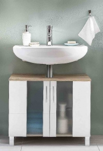 Trendteam Waschbeckenunterschrank Porto 168830141 in weiß mit satiniertem Glas