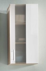 Trendteam Hängeschrank 33 cm breit Porto 168850141 in weiß mit satiniertem Glas