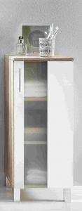 Trendteam Unterschrank 33 cm breit Porto 168880141 in weiß mit satiniertem Glas