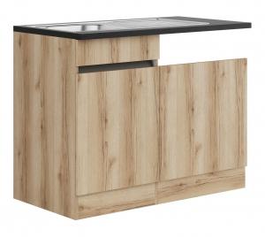 Küchen Spülenschrank Set mit Arbeitsplatte Kaya SPGSSET-0+ in Wildeiche Nachbildung 110 cm breit