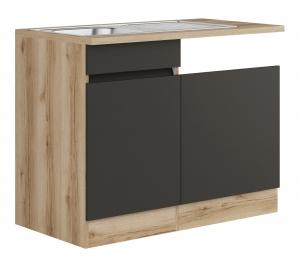 Küchen Spülenschrank Set mit Arbeitsplatte Noah SPGSSET-0+ in anthrazit 110 cm breit
