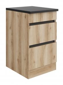 Küchen Schubladenunterschrank mit Arbeitsplatte Kaya U536-0+ in Wildeiche Nachbildung 50 cm breit