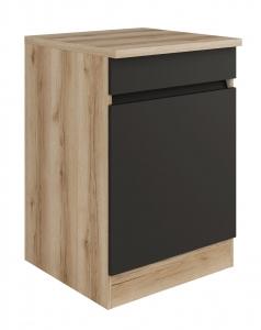 Küchen Unterschrank mit Arbeitsplatte Noah U606-0+ in anthrazit 60 cm breit