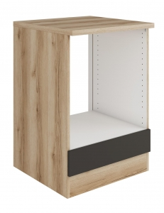 Küchen Herdumbauschrank mit Arbeitsplatte Noah U634-0+ in anthrazit 60 cm breit