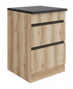 Küchen Schubladenunterschrank mit Arbeitsplatte Kaya U636-0+ in Wildeiche Nachbildung 60 cm breit