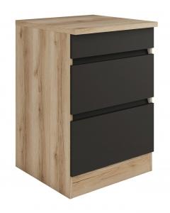 Küchen Schubladenunterschrank mit Arbeitsplatte Noah U636-0+ in anthrazit 60 cm breit