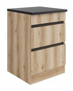 Küchen Schubladenunterschrank mit Arbeitsplatte Kaya UC636-0+ in Wildeiche Nachbildung 60 cm breit